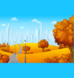 autumn landscape with trees and town buildings vector image