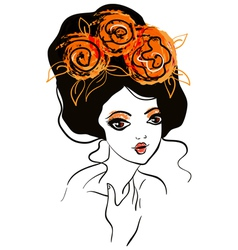 Beautiful girl with flowers in hair vector
