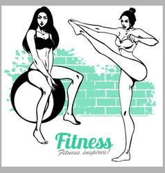 beautiful sportive womans doing exercises vector image