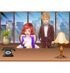 Business couple in an office vector