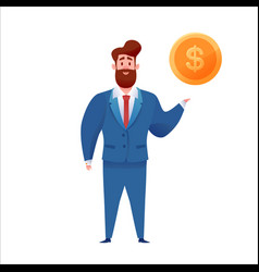 business man in suit with golden coin vector image