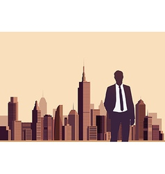 Businessman standing with a city background vector