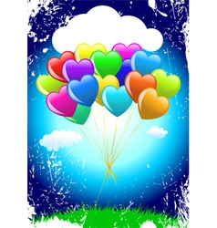 cartoon heart balloons vector image