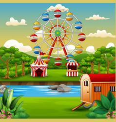 Cartoon of amusement park with nature landscape vector