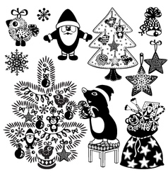 christmas set black white vector image