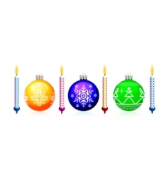 christmas tree sphere and candle vector image
