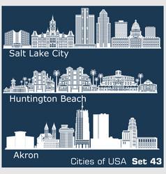 cities usa - huntington beach salt lake city vector image