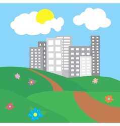 city surrounded by nature landscape vector image