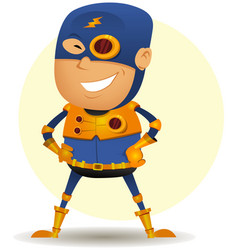 Comic superhero with golden armor vector