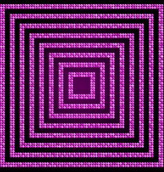 Concentric square pink mosaic sequin glitter vector