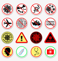 coronavirus covid19-19 prohibition stickers set vector image
