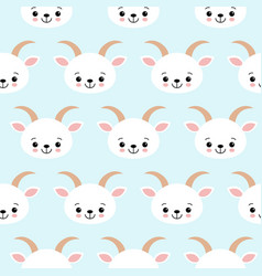 cute cool seamless pattern baby animals farm goat vector image