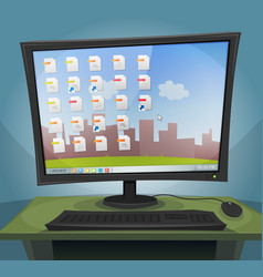 Desktop computer with operating system on screen vector