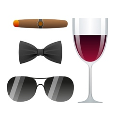 Dolce vita with cigar glass of wine bow tie and vector