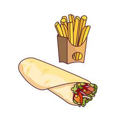 Doner kebab potato fry cartoon set isolated vector