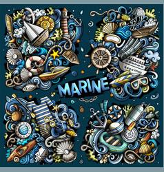 Doodles cartoon set marine combinations vector