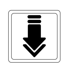 Download arrow down button black and white vector