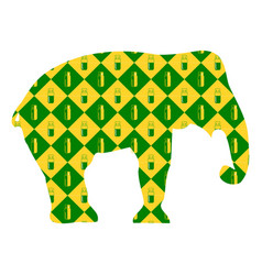 elephant silhouette on the background of yellow vector image