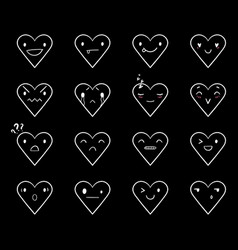 Emoticons doodle hearts black vector