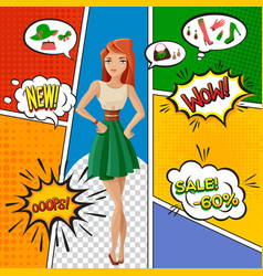 Female products comic book page vector
