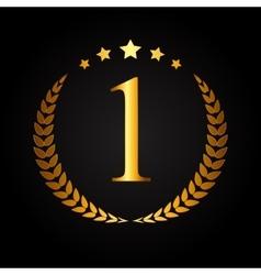 First Place Gold Laurel Design Label vector