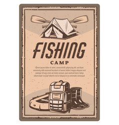 Fisher tent boots and boat vintage poster vector