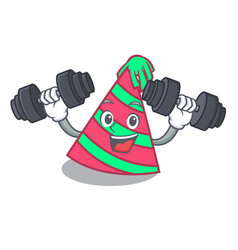 Fitness party hat character cartoon vector