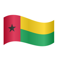 flag of guinea-bissau waving on white background vector image