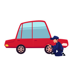 flat mechanic boy tire replacement vector image