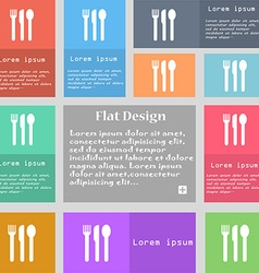 fork knife spoon icon sign Set of multicolored vector image