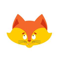 Fox confused emoji oops face avatar wild beast vector