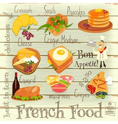 French food menu vector