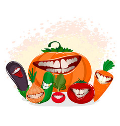 funny vegetables on white vector image