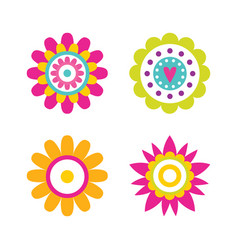 geometric shape flowers heart and dots abstract vector image