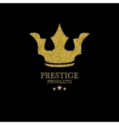 Gold glitter icon of crown isolated on vector