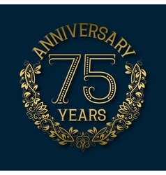 Golden emblem of seventy fifth years anniversary vector