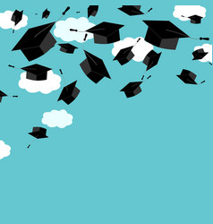 Graduate caps on the blue sky background vector