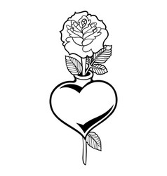 graphic heart with flower vector image