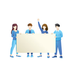 group people holding empty banner vector image