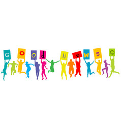 group people silhouettes jumping and holding vector image