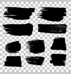 Grunge black rough brush strokes set vector