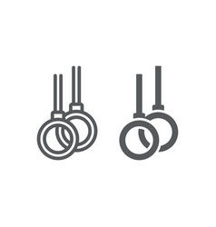 Gymnastic rings line and glyph icon athletics and vector