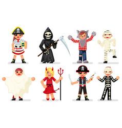 Halloween costume children masquerade party kids vector