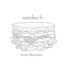 hand drawn sketch steak sub sandwich black vector image