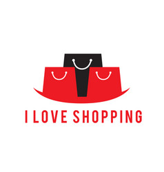 i love shopping black red bag background im vector image