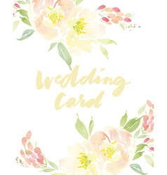 invitation card with watercolor flowers bridal vector image