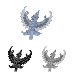Isolated object garuda and bird sign set of vector