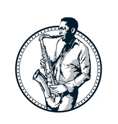 Jazz man plays saxophone vector