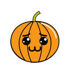 Kawaii shy pumpkin vegetable icon vector