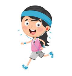 Kid running vector